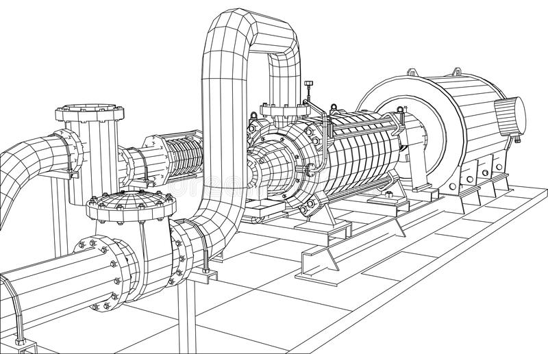 导线框架工业设备油和煤气泵浦 库存例证