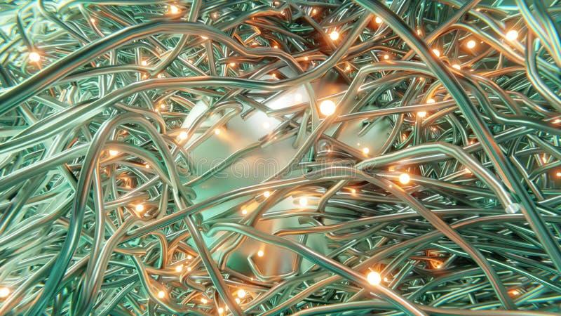 导线金属缠结特写镜头eminating从与发光的橙色炭烬3d翻译的金属球形的  库存例证