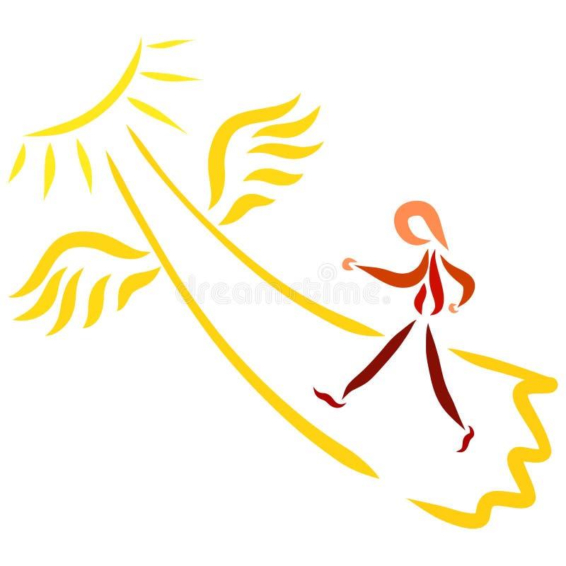 导致太阳和人的飞过的道路走  库存例证