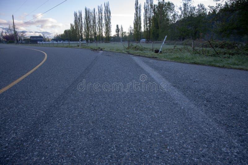 导致沿路的捣毁的篱芭的刹车痕 库存照片