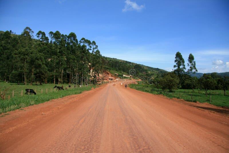 导致通过乌干达的弯曲道路 免版税库存图片