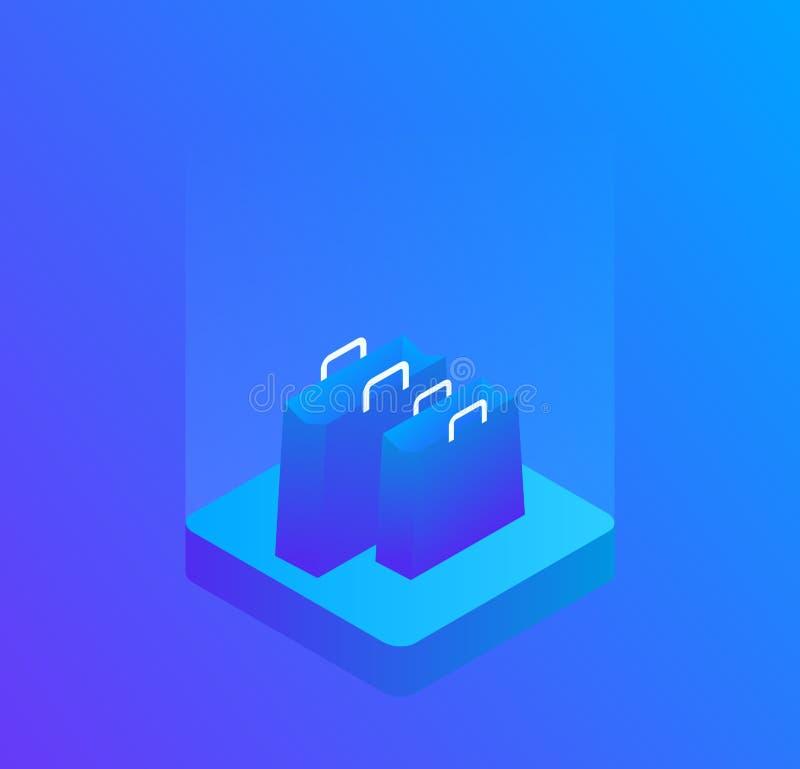 导航一个三维购物袋的图象,隔绝在蓝色背景 现代等量传染媒介例证 皇族释放例证
