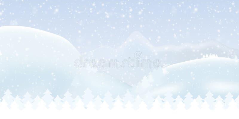 导航一个多雪的冬天山风景的例证与fo的 皇族释放例证