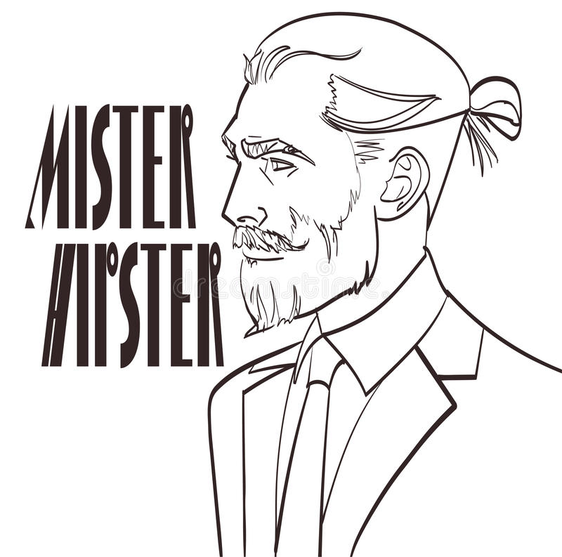 导航一个时髦人士的例证流行艺术的,与署名Hipster先生的可笑的样式 库存例证