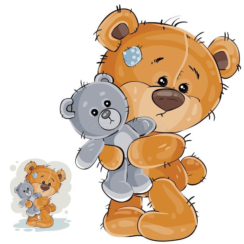导航一个棕色玩具熊拥抱他软的玩具的和失踪的例证某人 向量例证