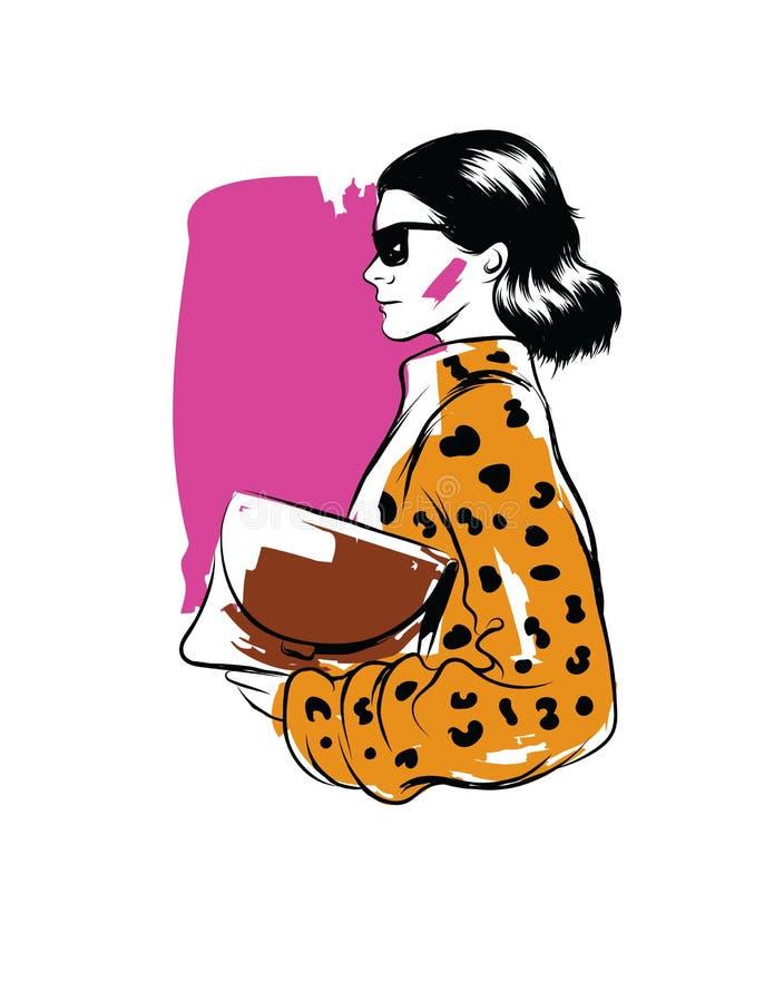 导航一个现代加工好的女孩的彩色插图 皇族释放例证