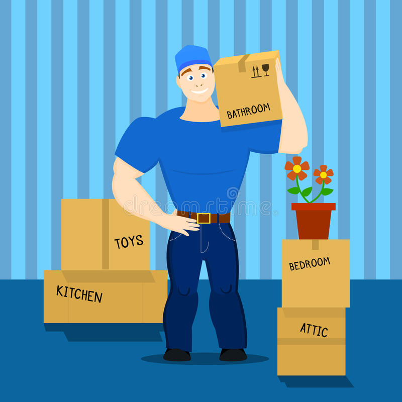 导航一个移动的服务人装载者的例证,搬运工,举起者 库存照片