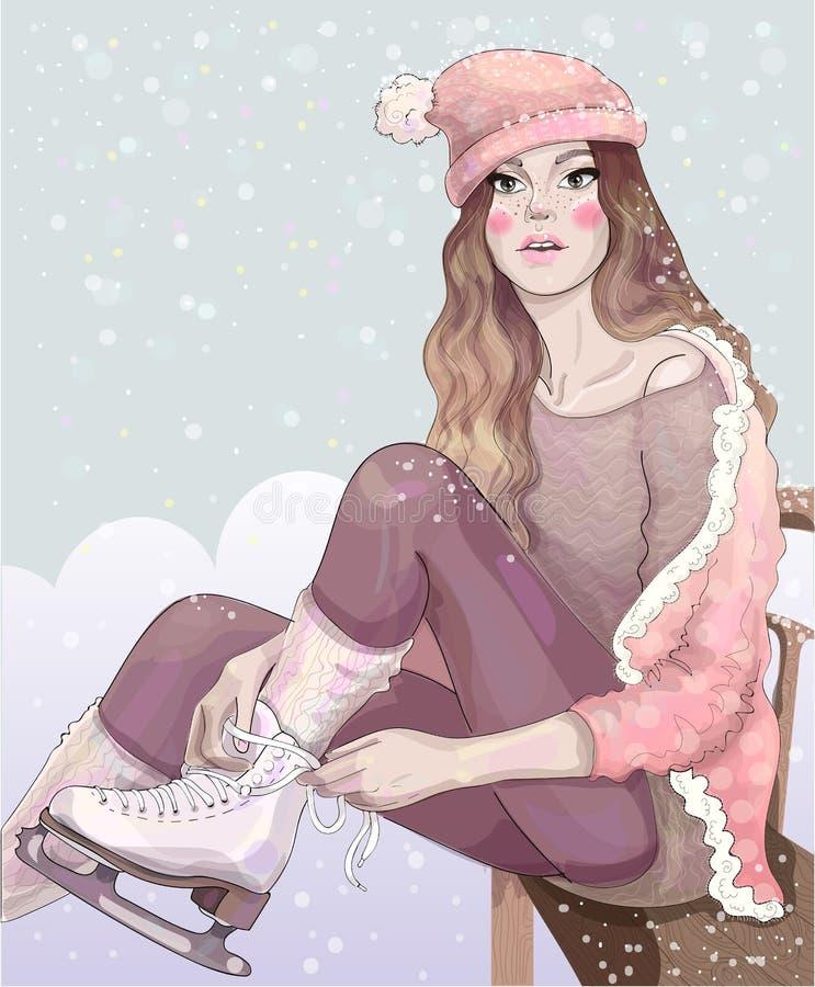 导航一只桃红色礼服时髦的冰鞋的美丽的女孩在降雪下 向量例证