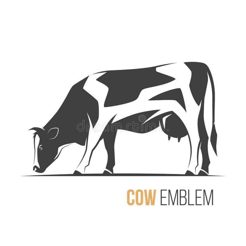 导航一头时髦的被察觉的黑白花牛母牛的例证 向量例证