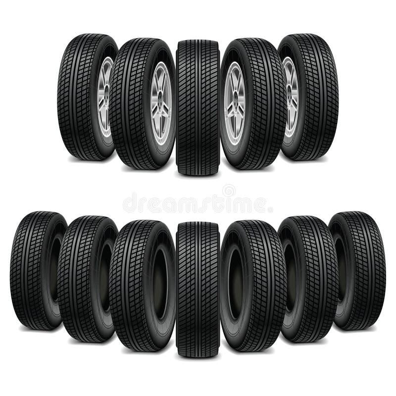 导航一套的轮胎等量例证卡车汽车轮胎 图库摄影