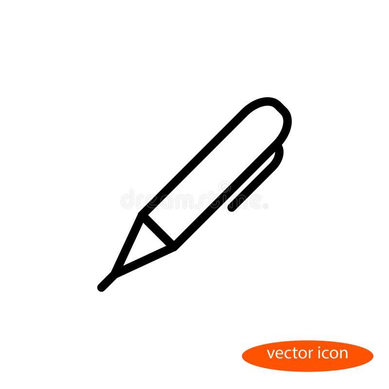 导航一支毛毡笔的线性图象画的与门闩,一个平的线性象 库存例证