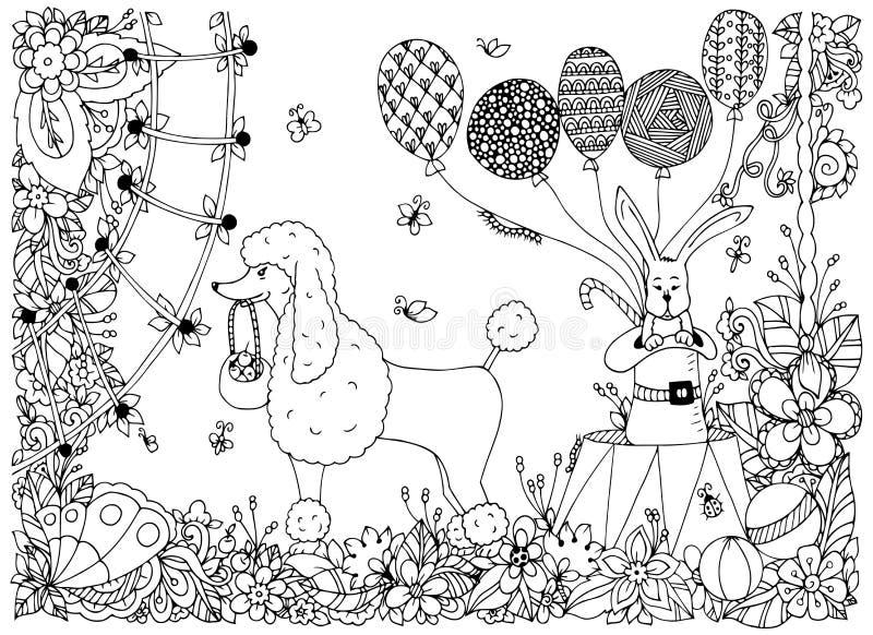 导航一条长卷毛狗和一只兔子的例证在马戏竞技场 乱画花表现 成人的彩图反重音 向量例证