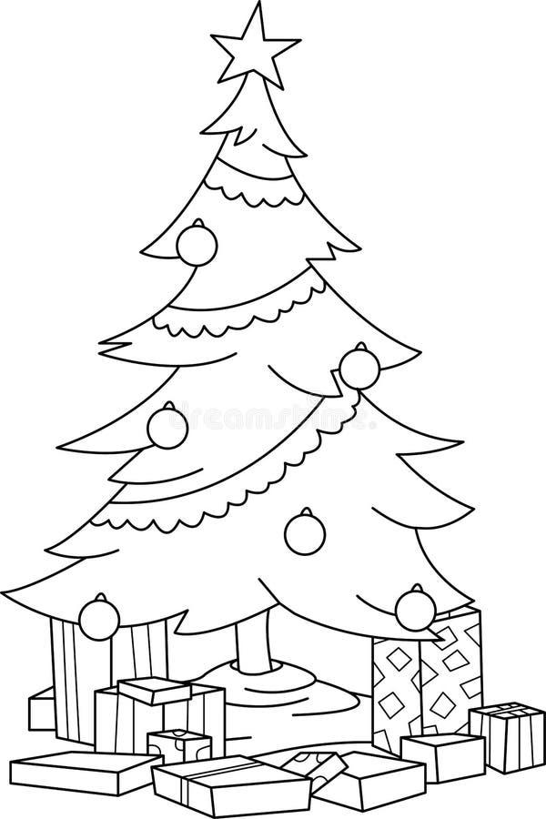 导航一棵装饰的圣诞树的例证与在底下各种各样的礼物的 库存照片