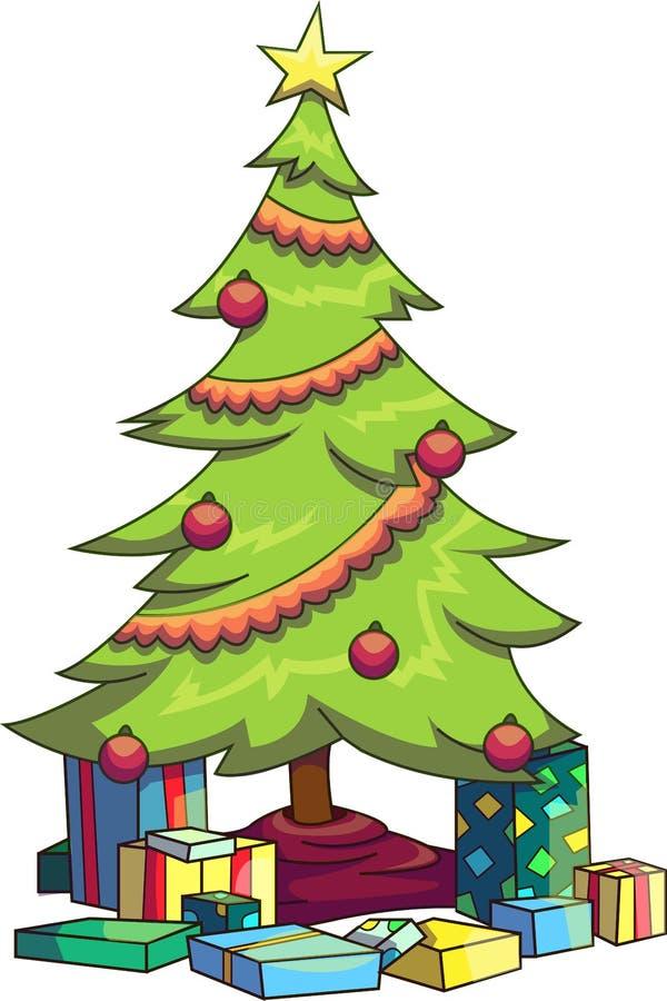导航一棵装饰的圣诞树的例证与在底下各种各样的礼物的 图库摄影