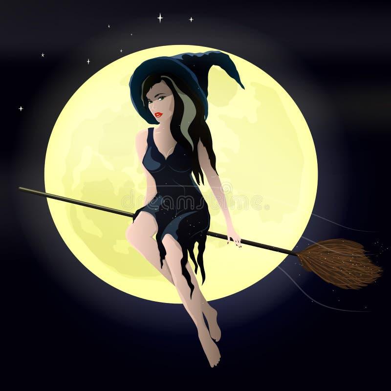 导航一次年轻巫婆飞行的例证在帚柄的反对夜空和月亮 皇族释放例证