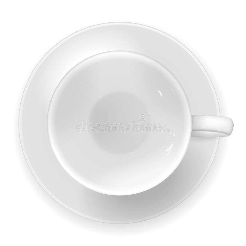 导航一白色瓷杯子和sauc的现实图象 向量例证