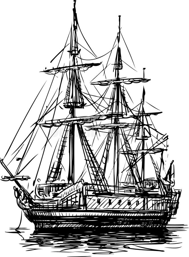 古老风船 库存例证