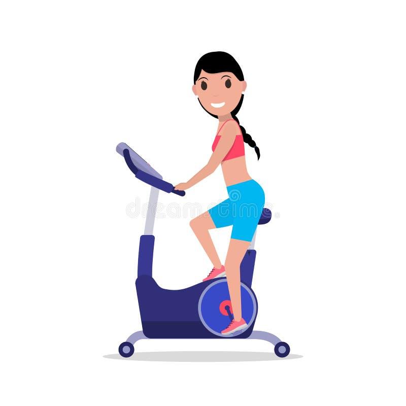 导航一辆固定式锻炼脚踏车的动画片妇女 皇族释放例证