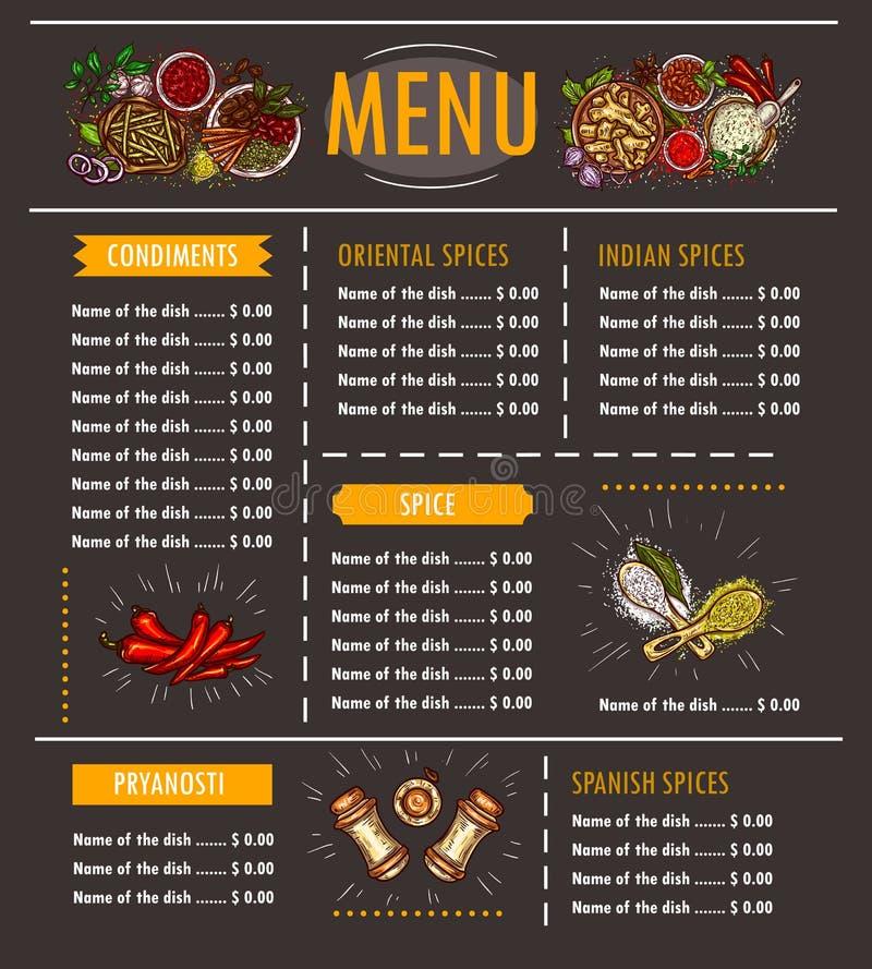 导航一份菜单的例证与各种各样的草本、香料、调味料和调味品特价优待的  向量例证