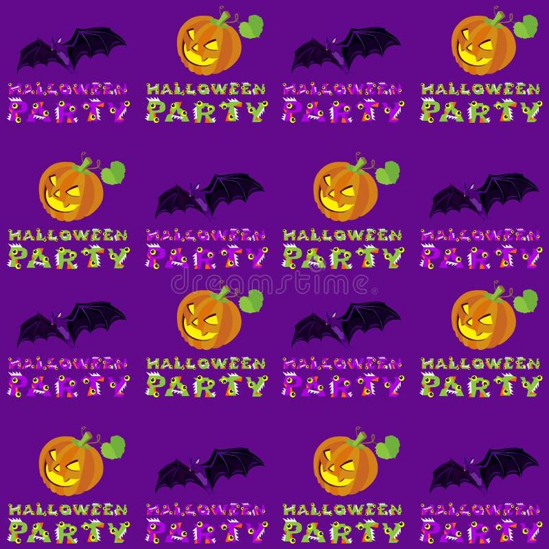 导航万圣夜样式的例证无缝用南瓜和字法在黑暗的紫罗兰色背景 向量例证