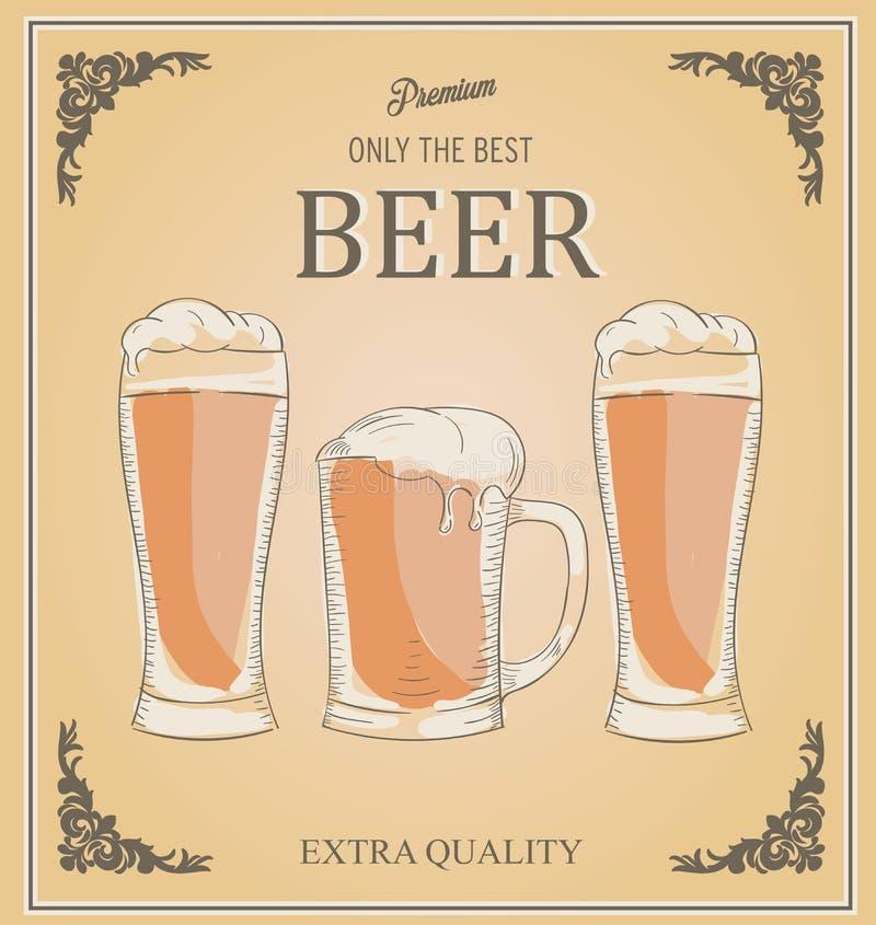 导航三块玻璃的例证有很多啤酒 优质的词 皇族释放例证