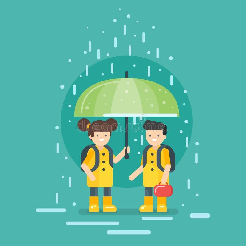 导航上学的微笑的孩子的例证在雨中 库存例证