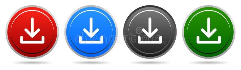 导航下载圆的按钮四颜色箭头下来象 向量例证