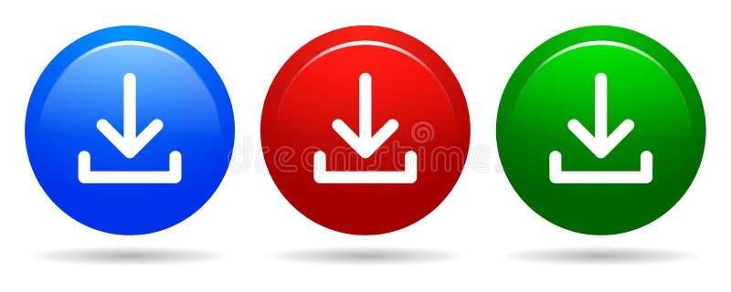 导航下载圆的按钮蓝色红色和绿色象 库存例证