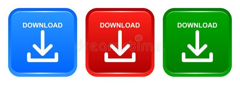 导航下载方形的按钮红色蓝色和绿色象 皇族释放例证