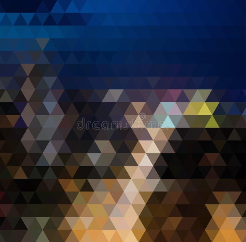 导航与一个三角样式的抽象不规则的多角形背景在完整色彩的彩虹光谱颜色 库存例证