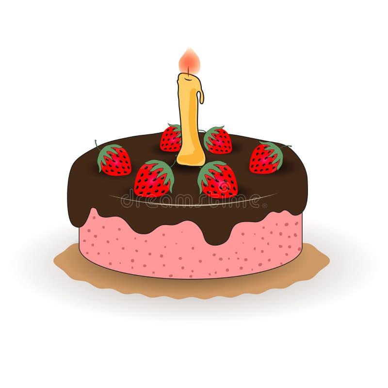 导航与一个蜡烛和草莓的例证欢乐巧克力蛋糕 库存例证