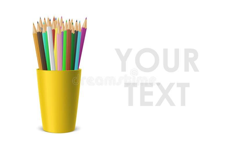 导航与一套的现实空白的塑料杯子立场色的铅笔 在白色背景隔绝的特写镜头 设计 库存例证