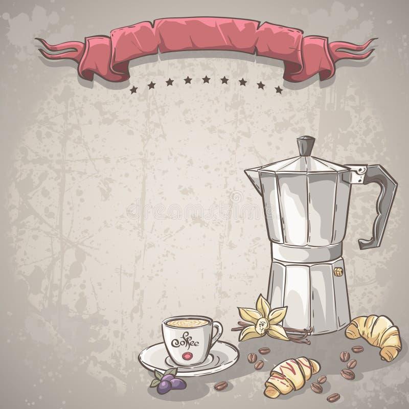 导航与一杯咖啡的背景、咖啡和新月形面包 向量例证