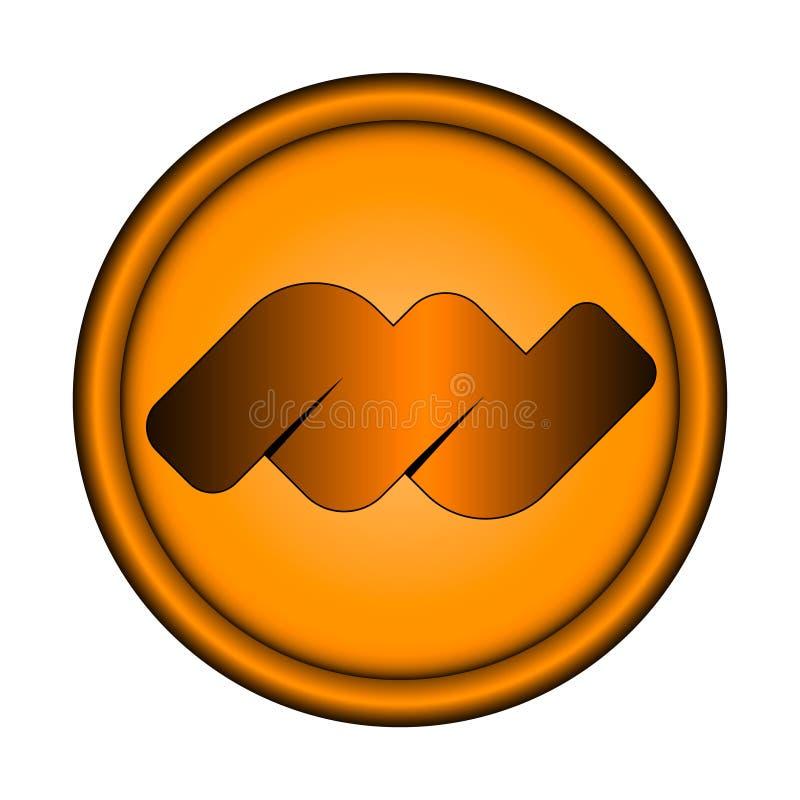 导航与三维边缘的例证橙色圆的象征在与里面抽象容量标志的白色背景 皇族释放例证