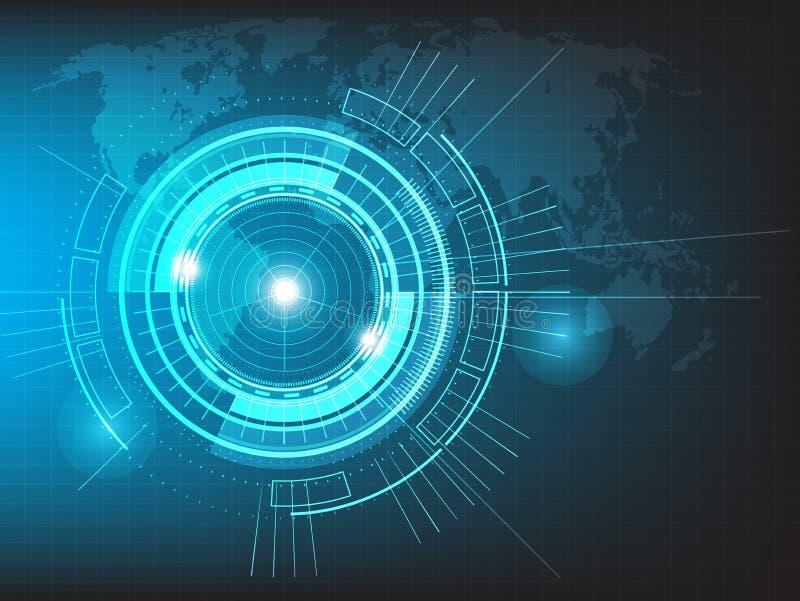 导航与世界地图的圈子技术在蓝色背景 向量例证