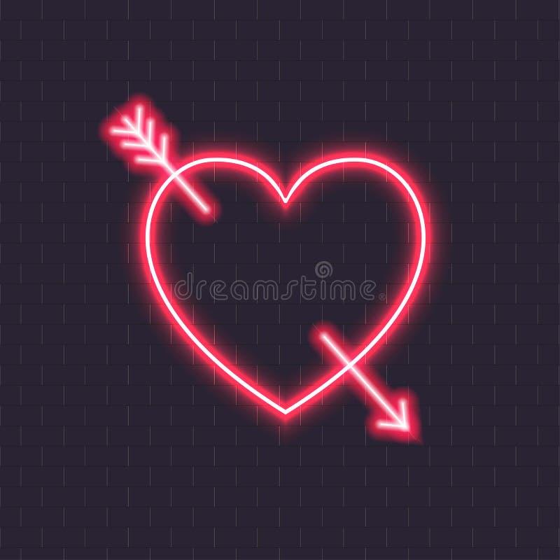 导航与丘比特箭头的霓虹心脏,婚姻在黑暗的砖墙背景隔绝的发光的五颜六色的设计元素 向量例证