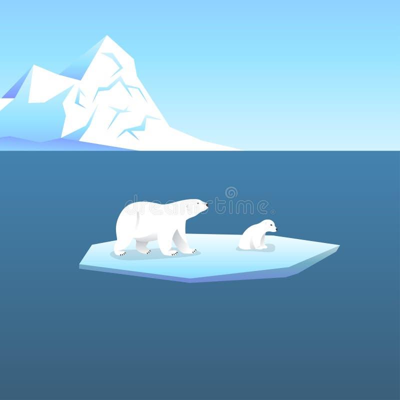 导航与两个北极熊、她熊和玩具熊的背景 向量例证