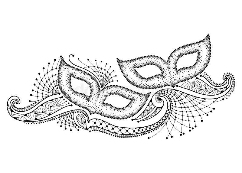 导航与两被加点的狂欢节面具的图画和在白色背景在黑色的概述装饰鞋带隔绝的 狂欢节 皇族释放例证