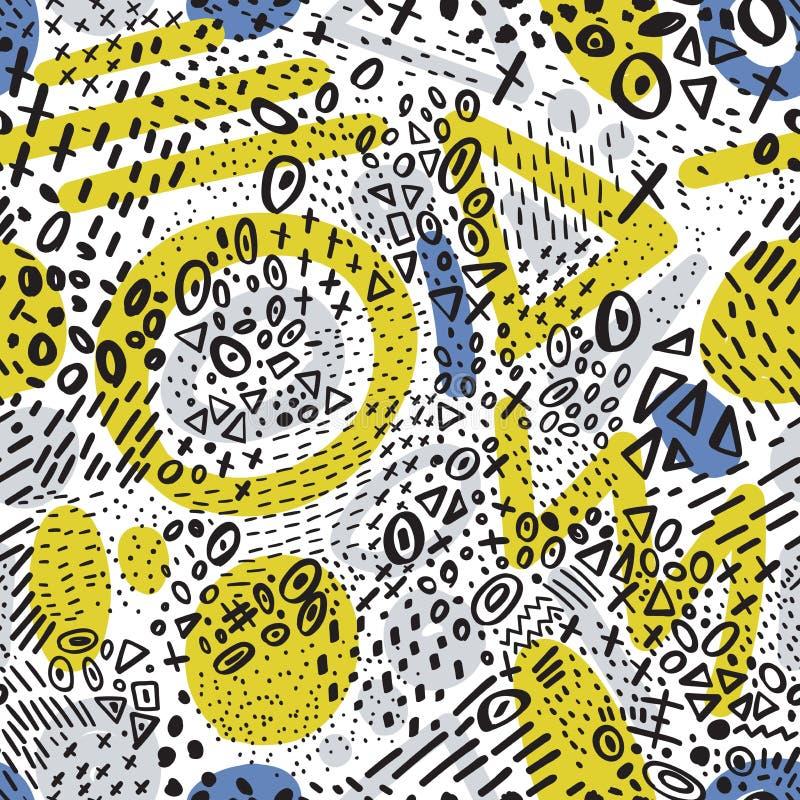 导航与乱画五颜六色的l的抽象标志的无缝的样式 向量例证