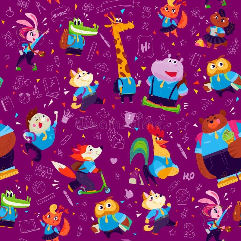 导航与乱画学校在紫色背景和滑稽的动画片动物学生的无缝的样式隔绝的对象象 向量例证