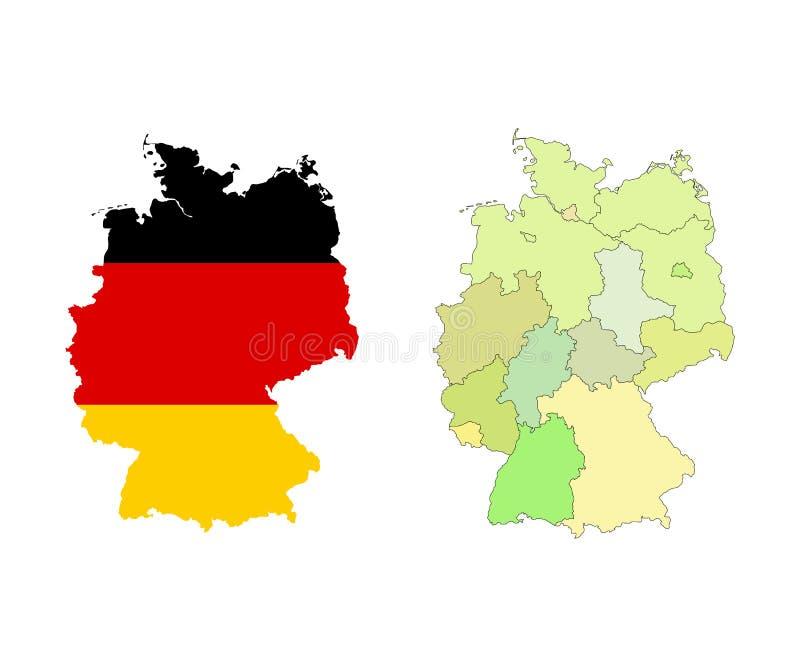 边界和旗子的德国地图 查出在白色 向量例证 - 插画 包括有 欧洲图片