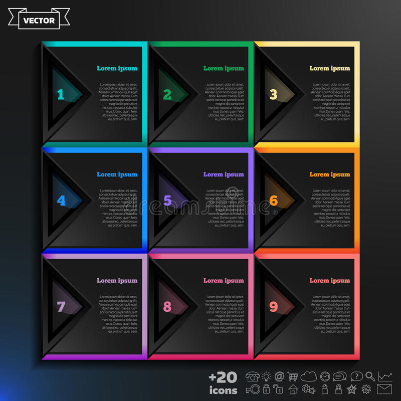 导航与五颜六色的正方形的infographic设计在黑背景 皇族释放例证