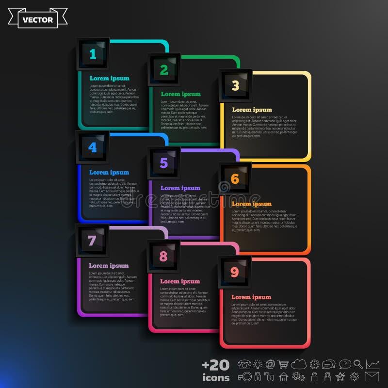 导航与五颜六色的正方形的infographic设计在黑背景 免版税库存图片