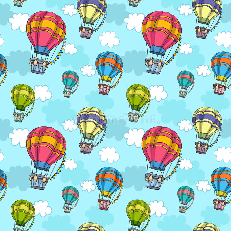 导航与五颜六色的气球的无缝的样式在天空 库存例证