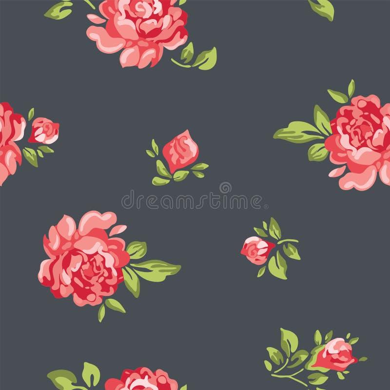 导航与五颜六色的玫瑰的葡萄酒无缝的花卉样式墙纸 向量例证