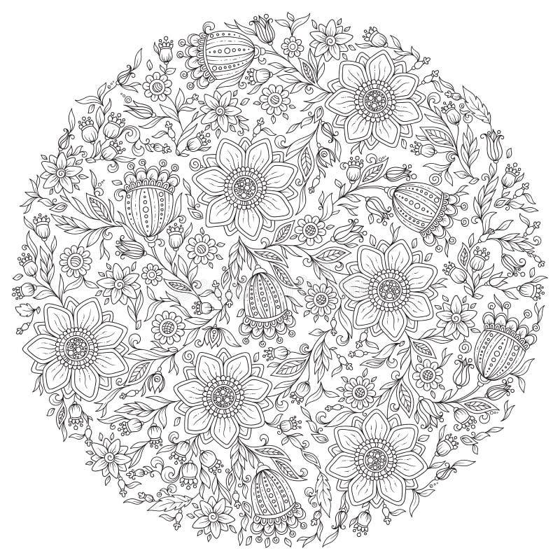 导航与五颜六色的幻想植物的花卉样式和 皇族释放例证