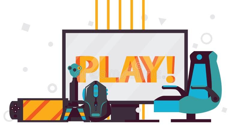 导航与俏皮话的场面在计算机显示器,象球员椅子,赌博老鼠, gamepad,在whi的控制杆的电子游戏辅助部件 皇族释放例证
