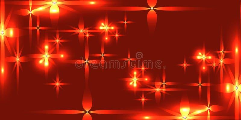 导航与光亮的轻的金属星的血淋淋的背景 皇族释放例证