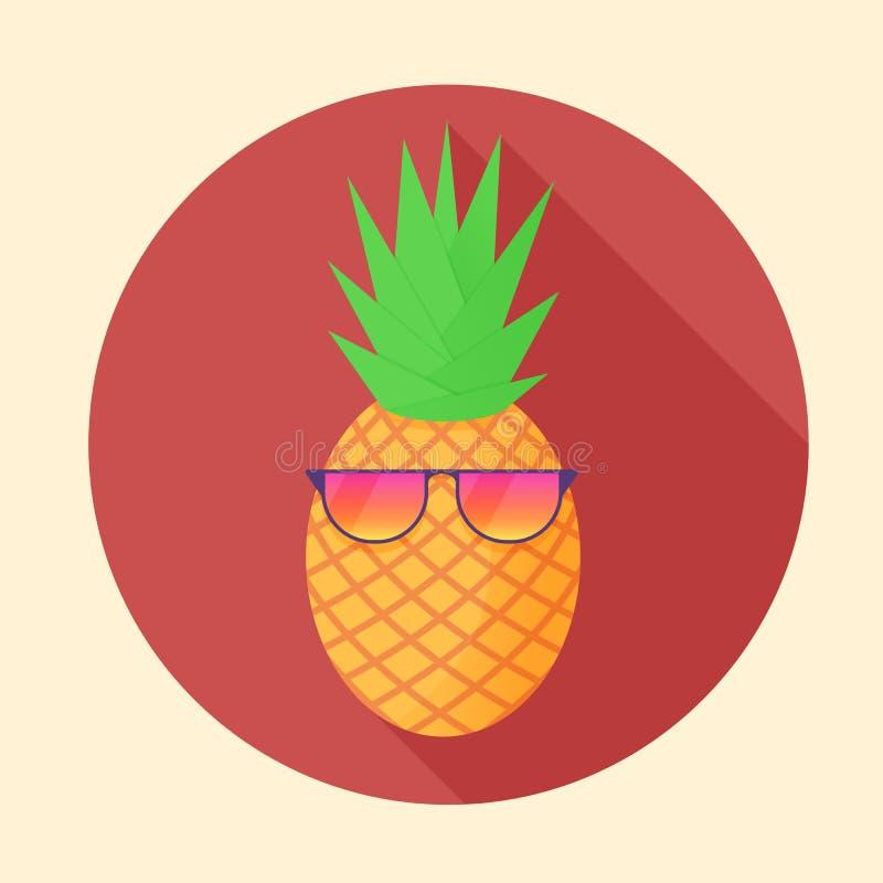 导航与党玻璃的菠萝热带水果在圈子 库存例证