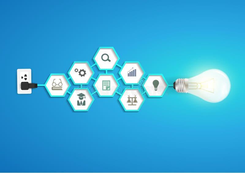 导航与六角形chemi的创造性的电灯泡想法 向量例证